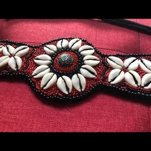 Vintage beaded belt with cowry shells